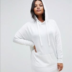 Micha Lounge Curve White Hooded Dress with Pocket